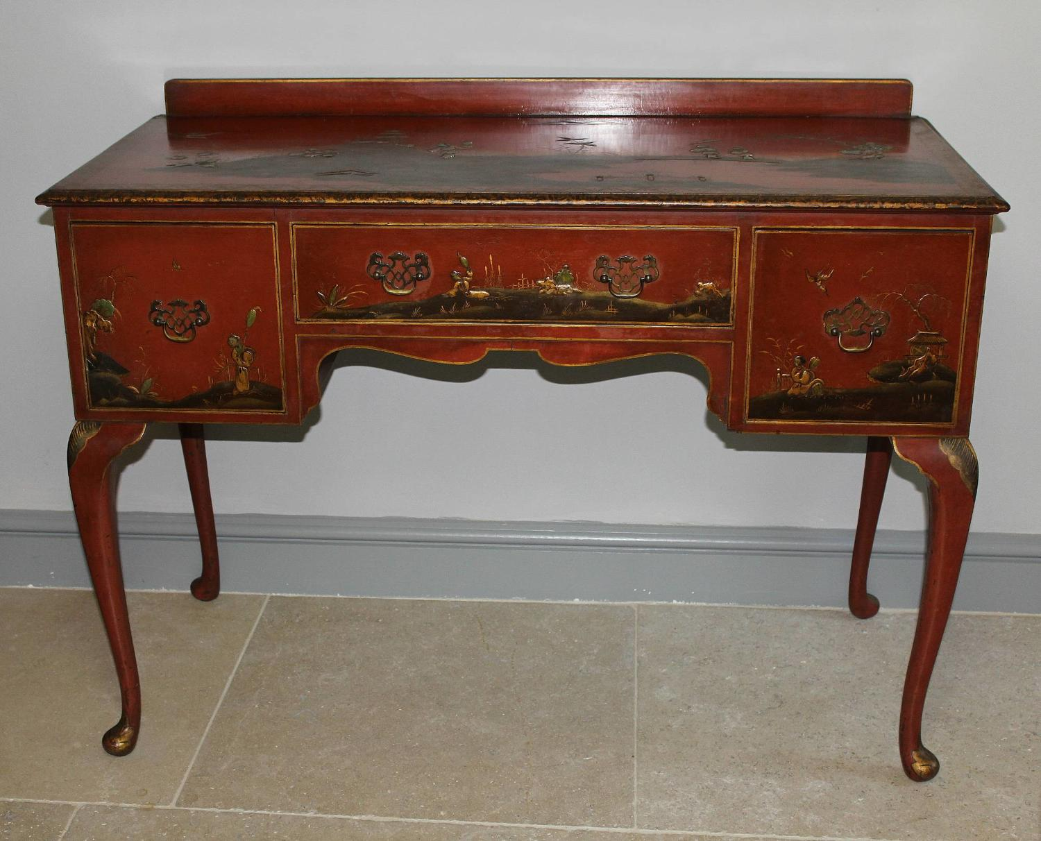 Chinoiserie Decorated Red Lacquer Console Table