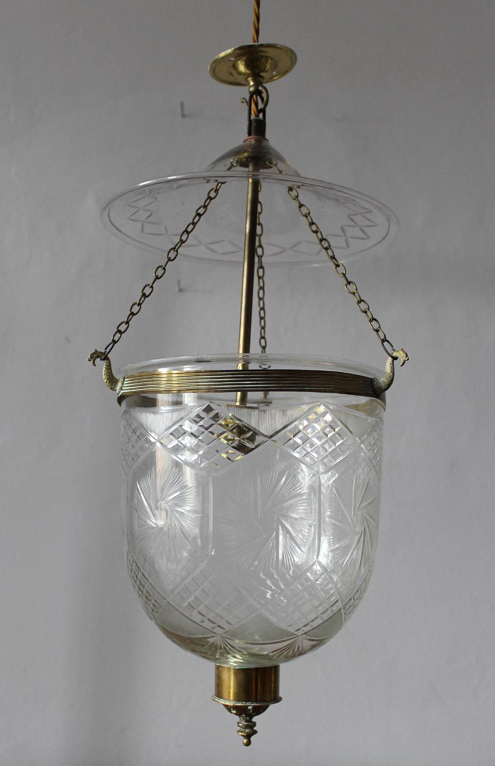 Brass Mounted Cut Glass Hundi Lantern
