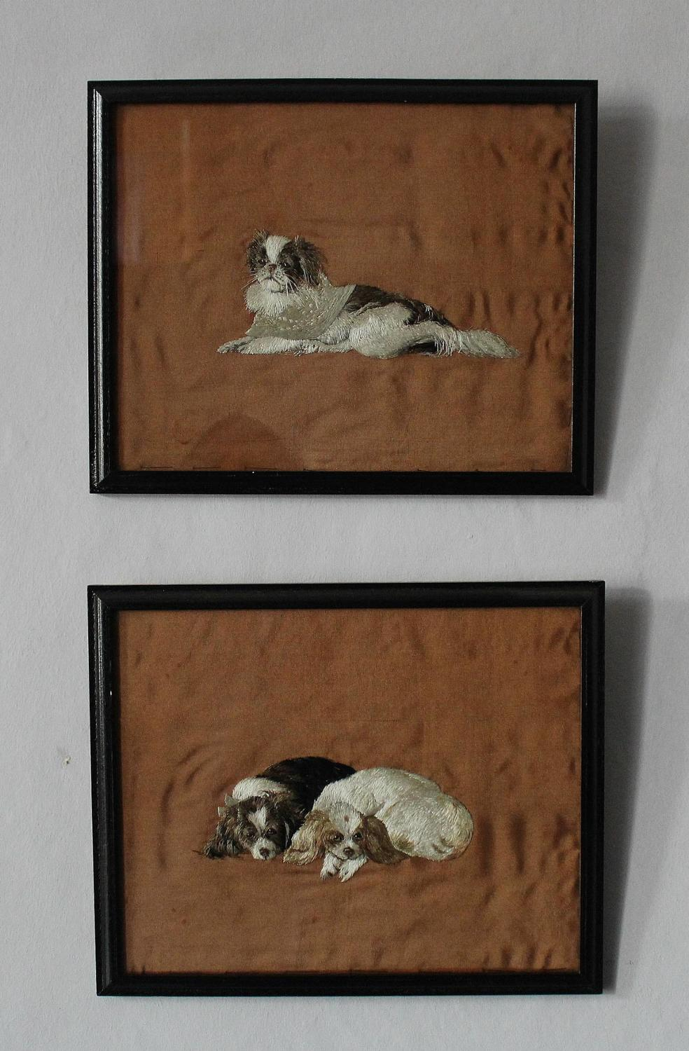 Pair of Japanese Meiji Silkwork Pictures of Dogs