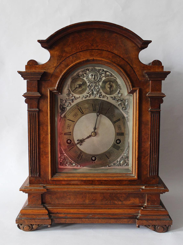 Burr Walnut Bracket Clock by Lenzkirch, Germany