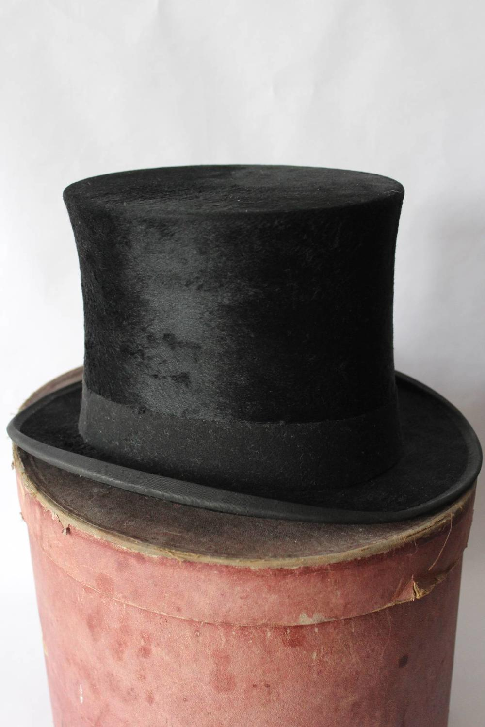 Antique 'Moleskin' Plush Silk Top Hat by Cuthbertson of London