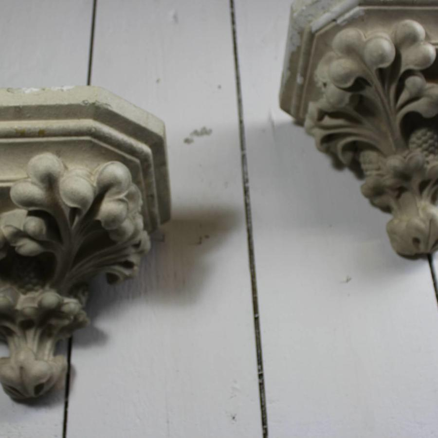 Pair of Large Plaster Corbels \ Wall Brackets