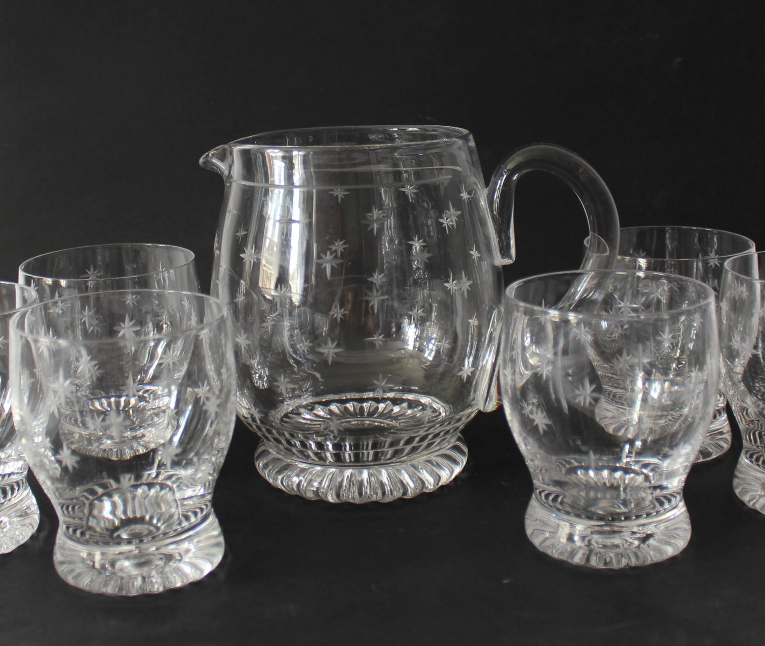 Vintage Stuart Cut Glass Star Pattern Water Set