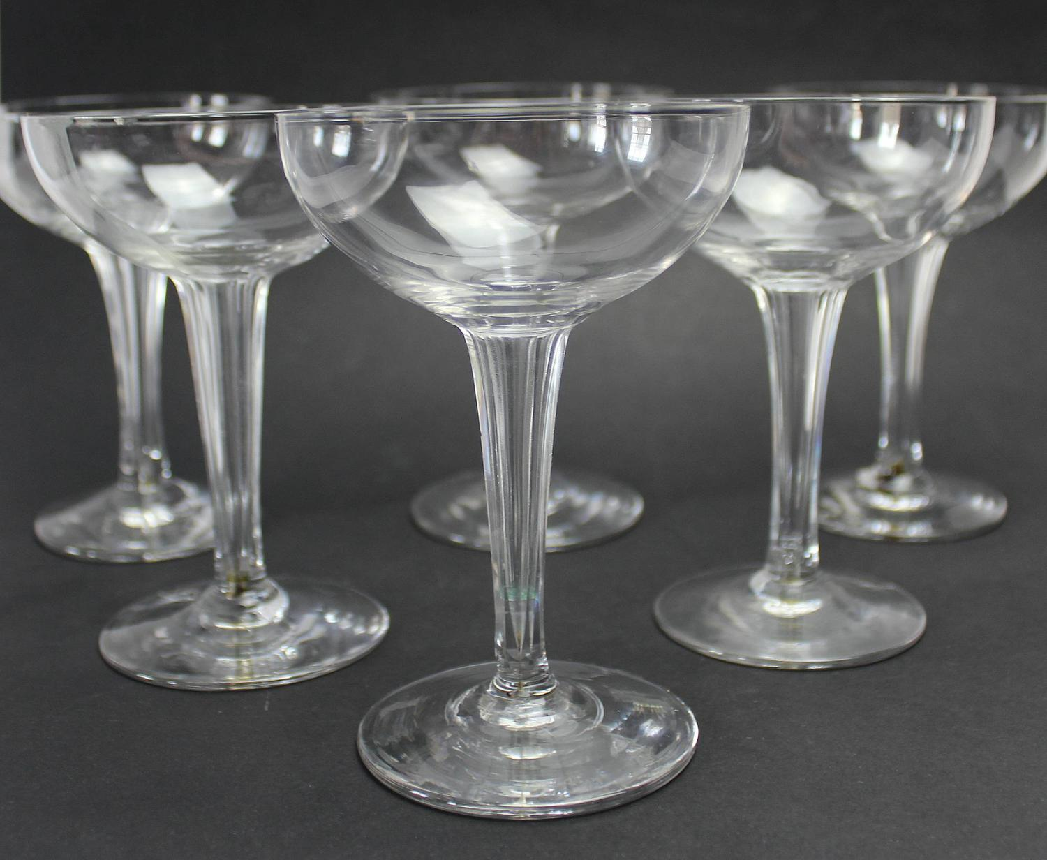 Set of Six Vintage Champagne Coupes / Glasses