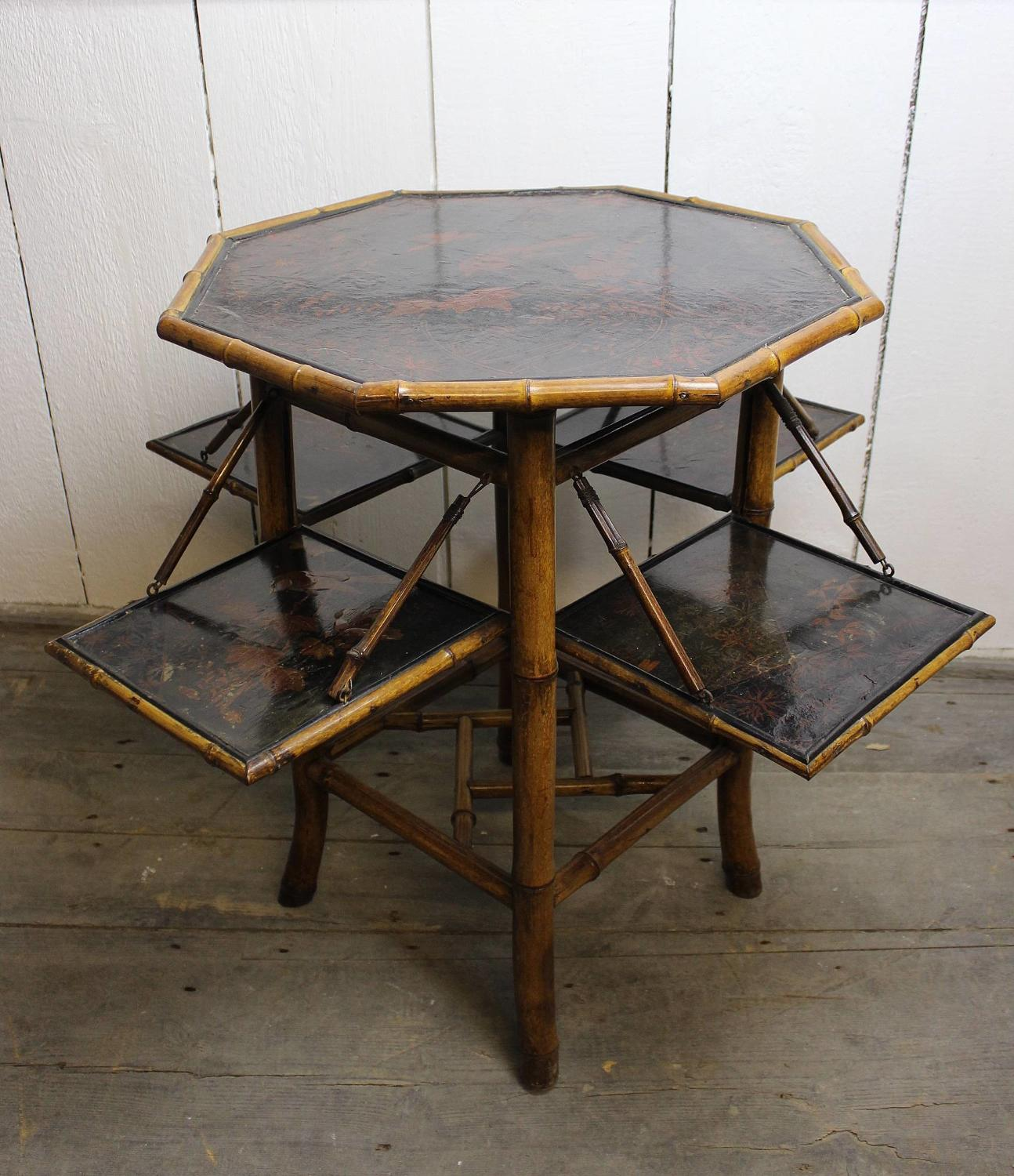 Victorian Japanned Bamboo Folding Side Table