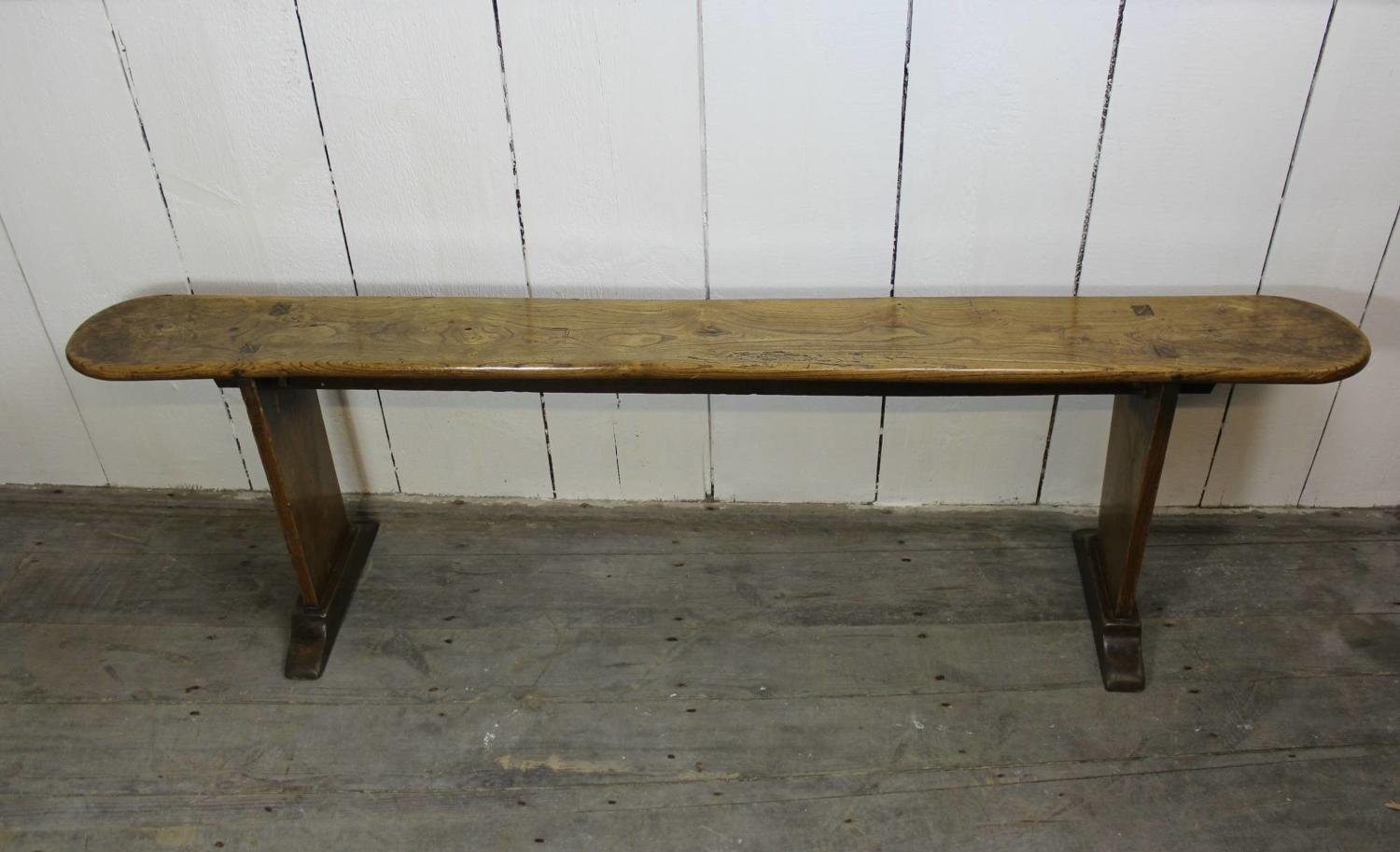 Antique Elm Plank Top Country Bench