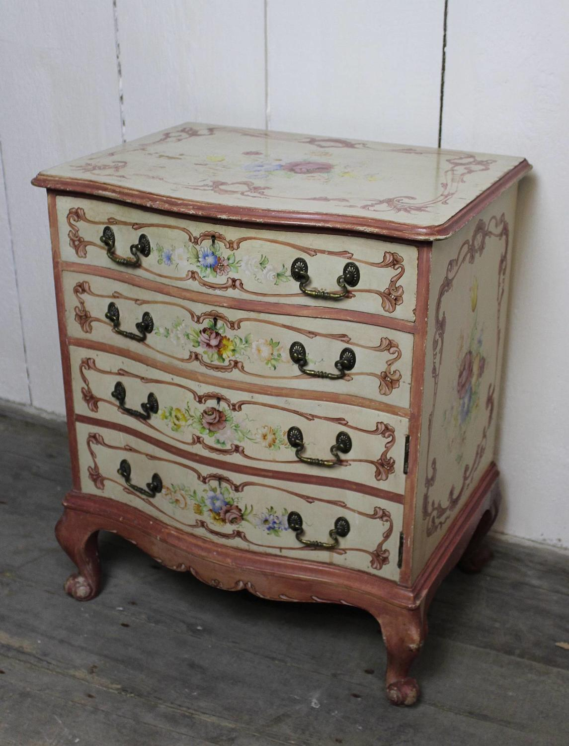 Italian Hand Painted Chest of Drawers / Bedside Cupboard