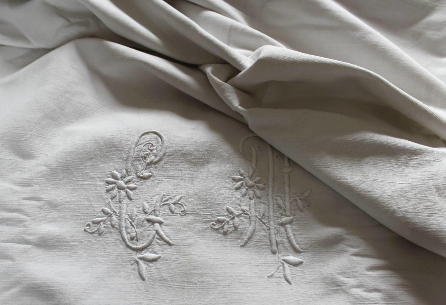 Antique French Metis Linen Monogrammed Dowry Sheet