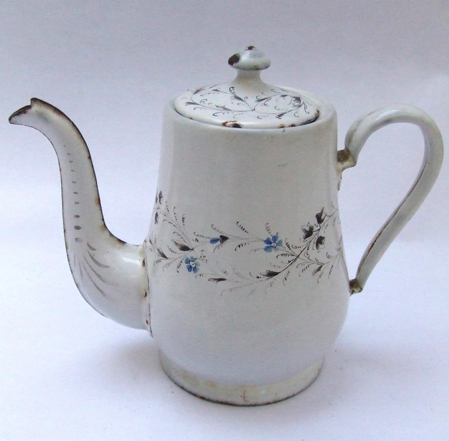 Antique Hand Painted French Enamel Coffee Pot