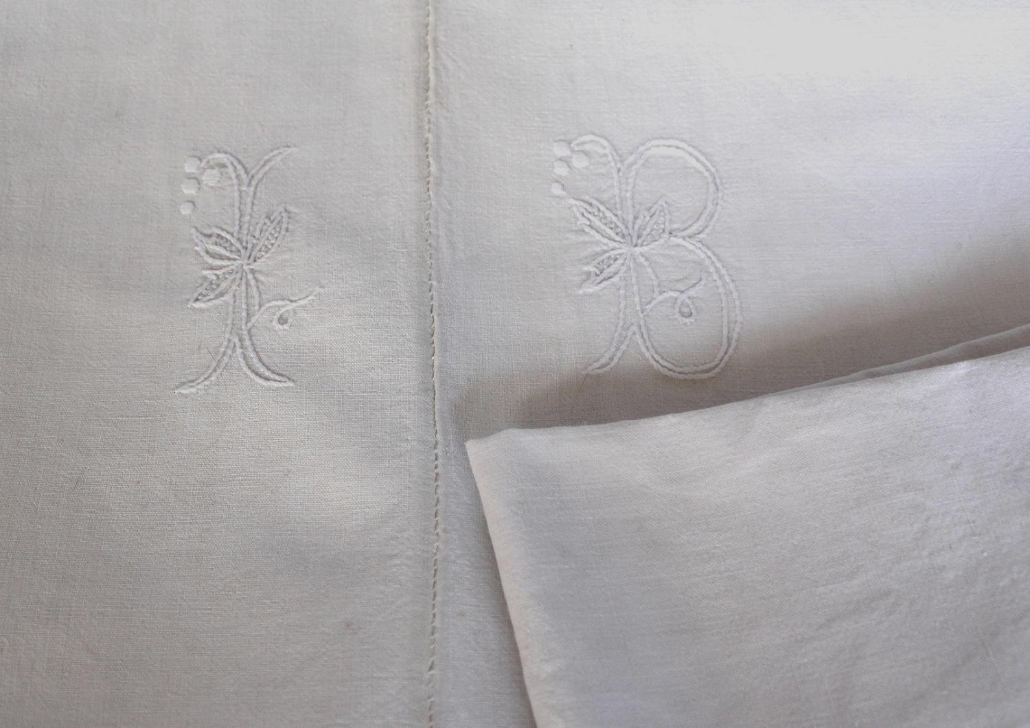 Antique French Monogrammed Dowry Sheet