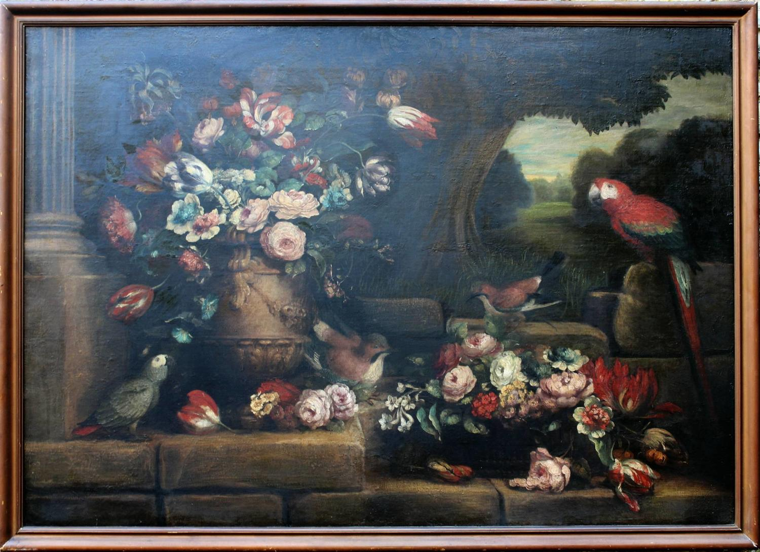 After Peter Casteels, Still life with Parrots, Oil on Canvas
