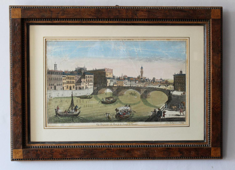 Daumont - Hand-Coloured Optical Print of Pont de Trenite, Florence