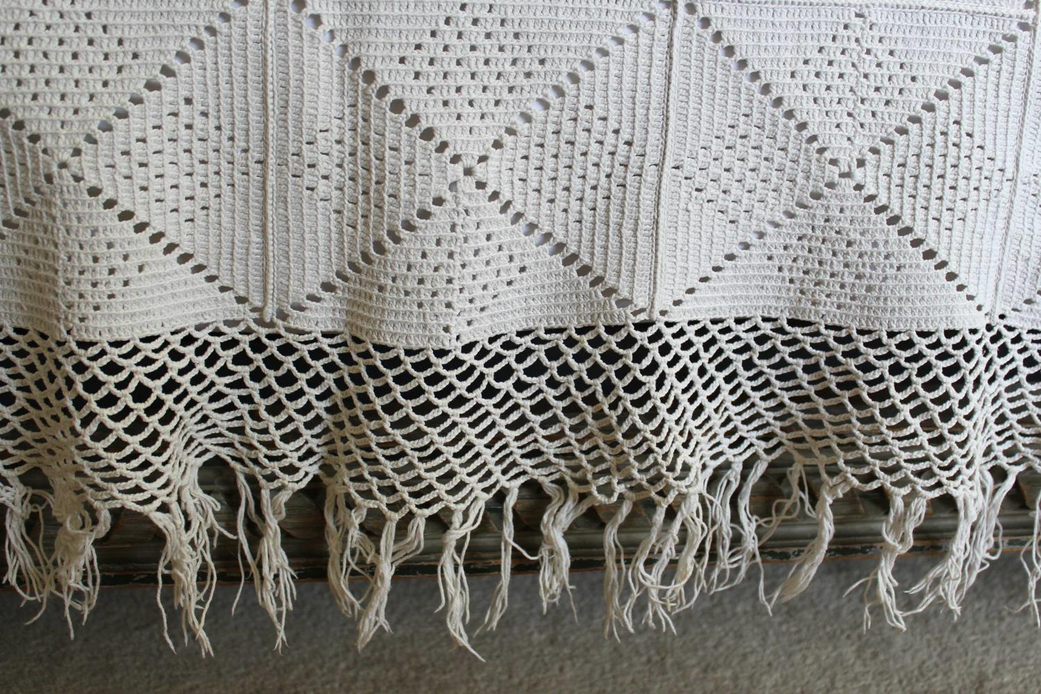 Vintage French Crochet Bed Cover