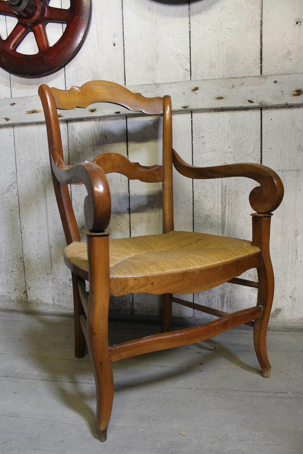 French Fruitwood Fauteuil / Open Armchair
