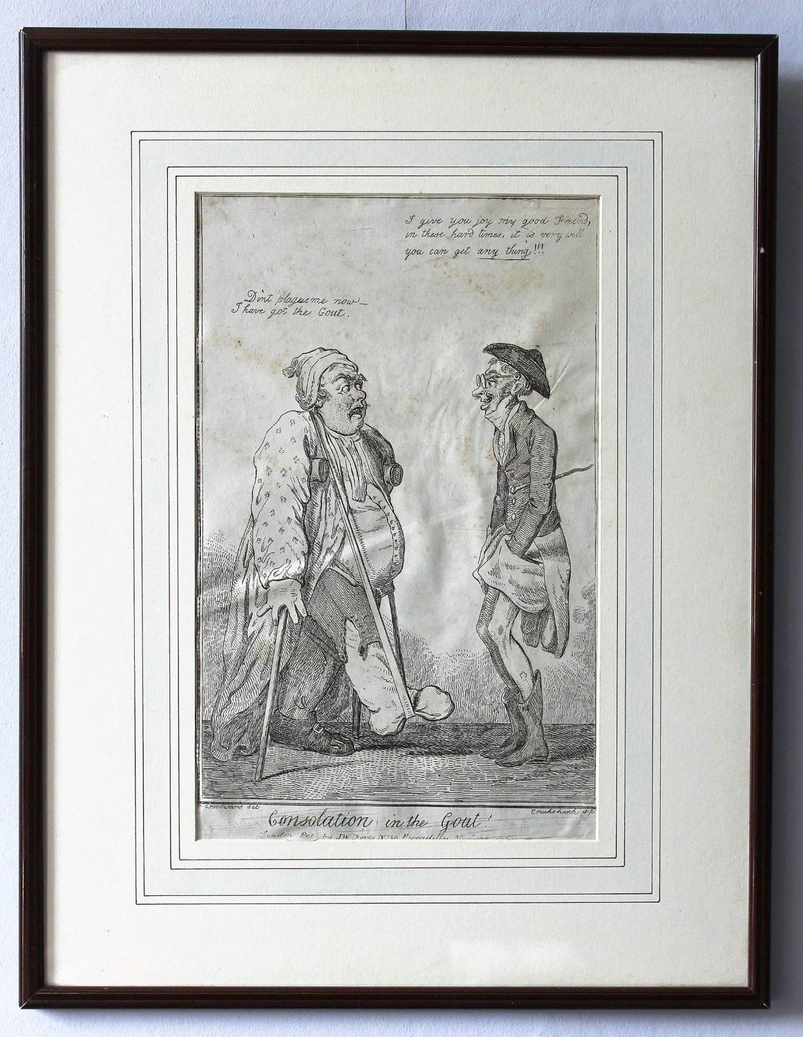 George Cruikshank 'Consolation in the Gout' Engraving 1796