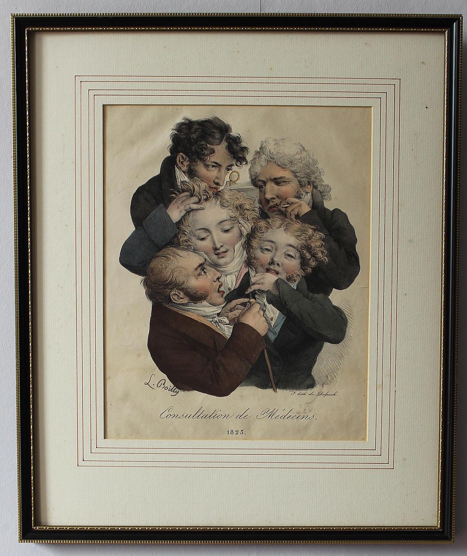 Boilly - Consultation de Medecins Lithograph & Watercolour