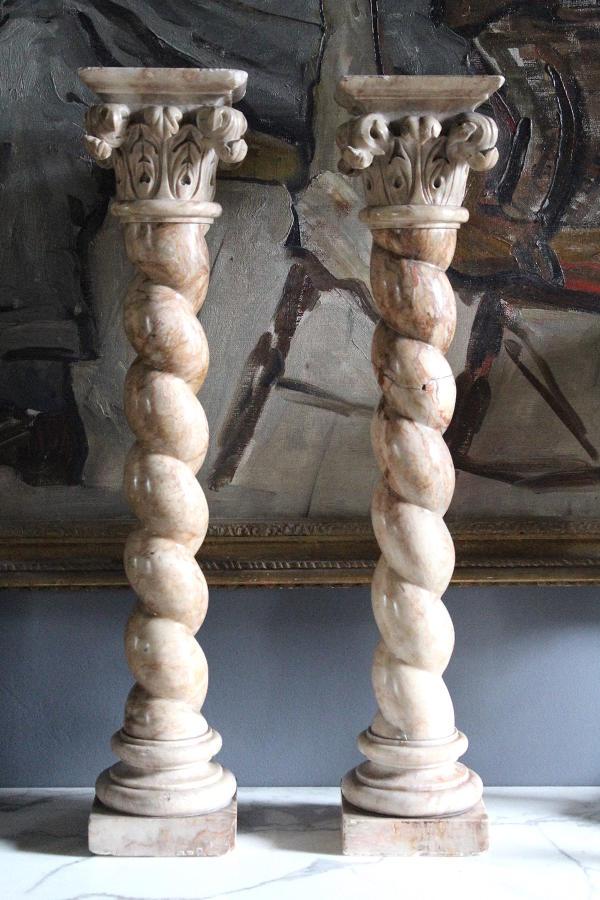 Pair of Marble Corinthian Topped Solomonic Columns