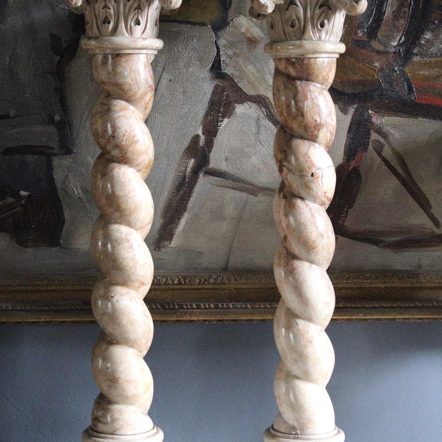 Pair of Marble Corinthian Topped Solomonic Columns