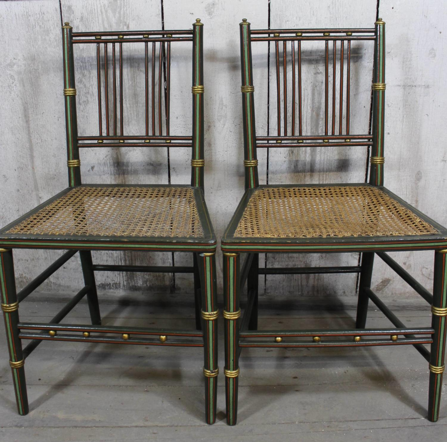 Pair of Painted Regency Chairs