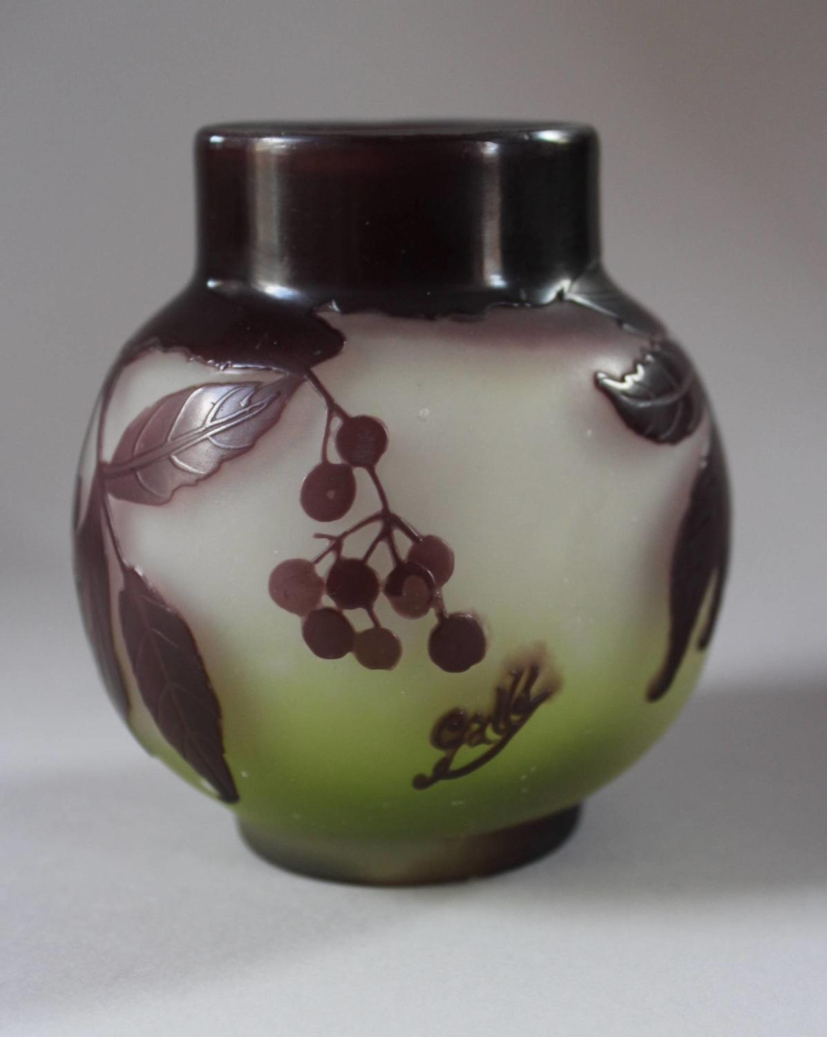 Gallé Cameo Glass Cabinet Vase