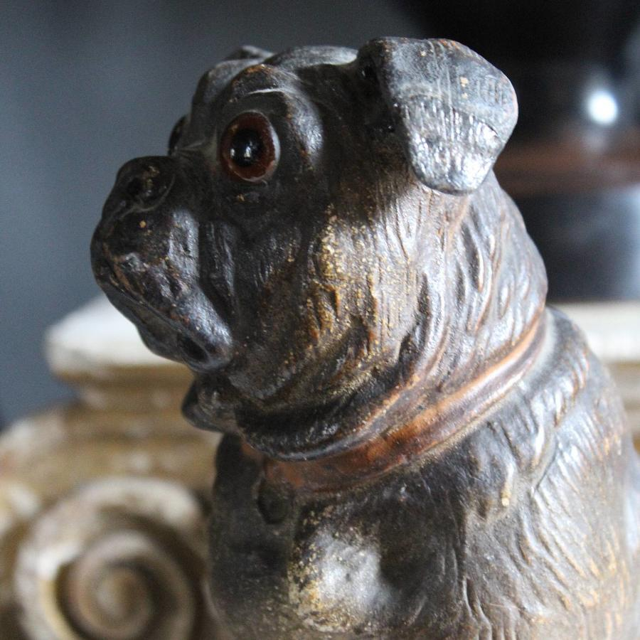 Austrian Painted Terracotta Pug Dog