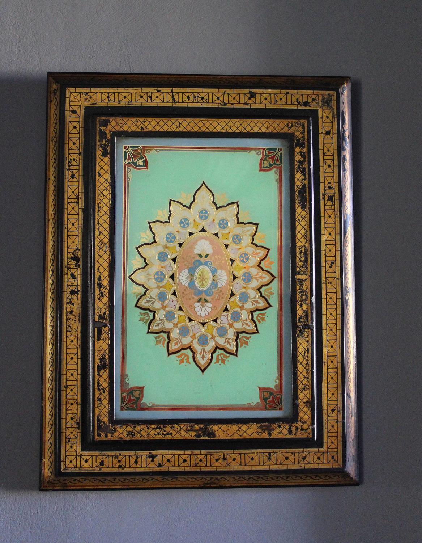 Antique Toleware & Reverse Glass Panel