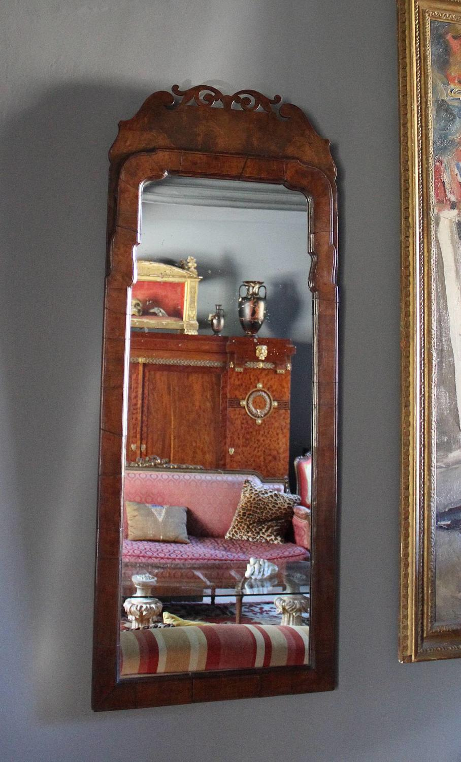Antique Walnut Pier Mirror in George I Style