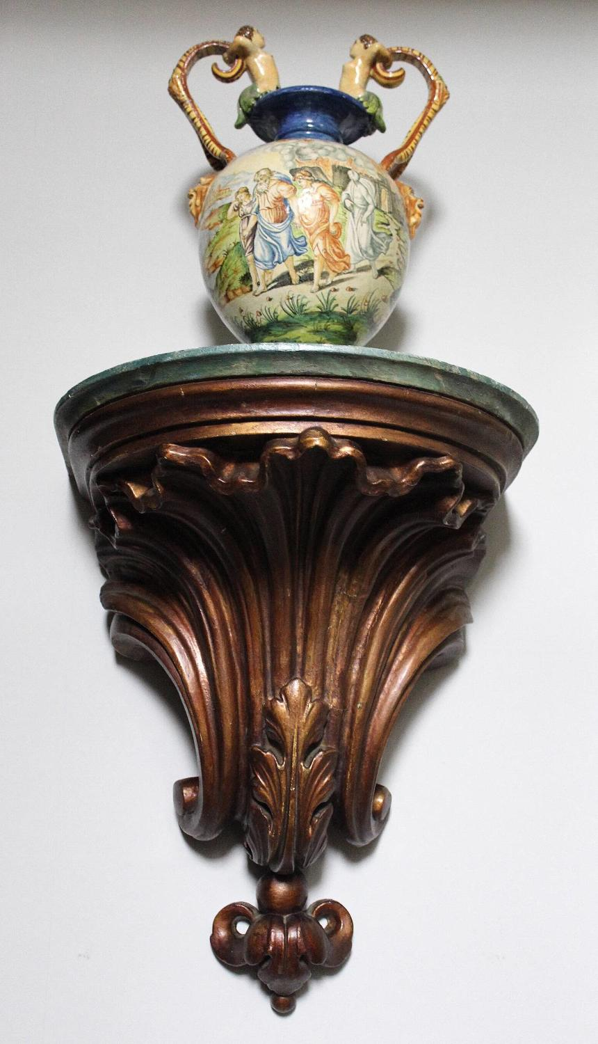 Large Gilt Papier Mache & Wood Wall Sconce