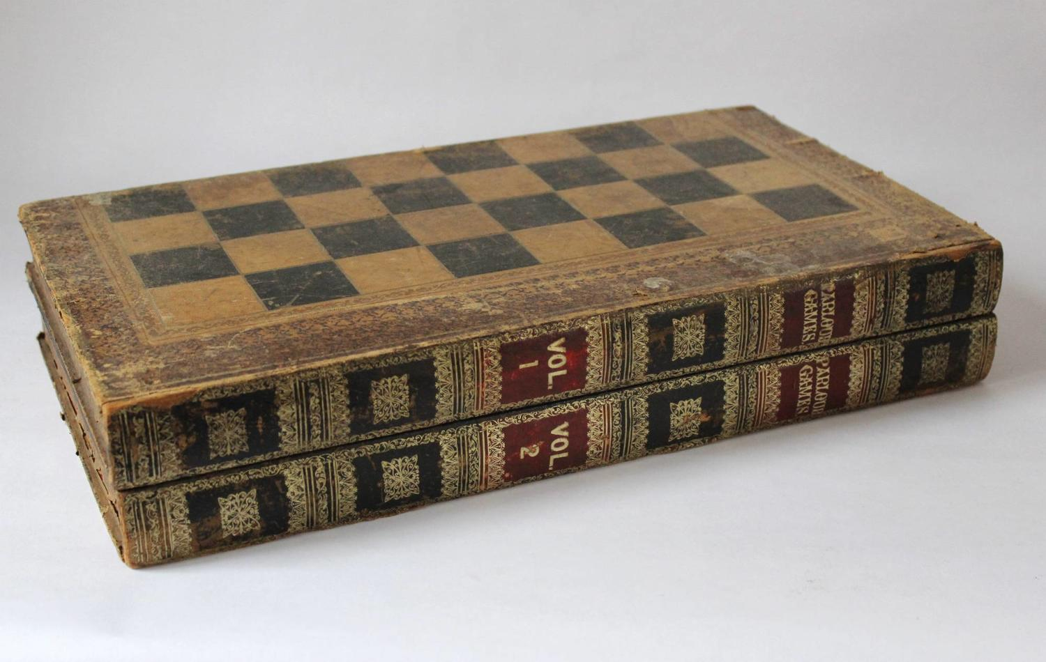 Antique Gilt-Tooled Leather-Bound Games Box of Book form