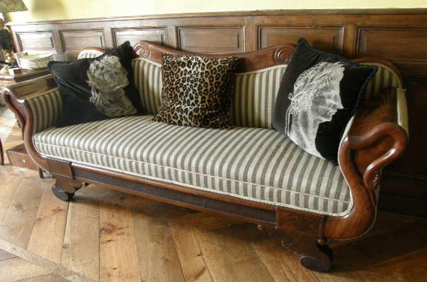French Empire Mahogany Swan Neck Sofa