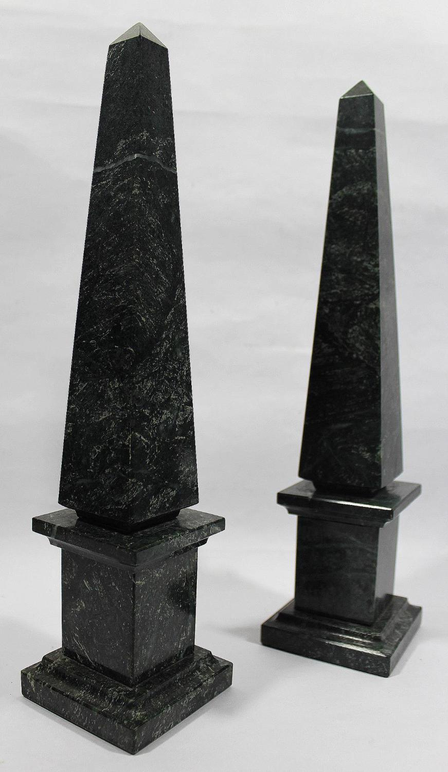Pair of Verde Antico Marble Obelisks