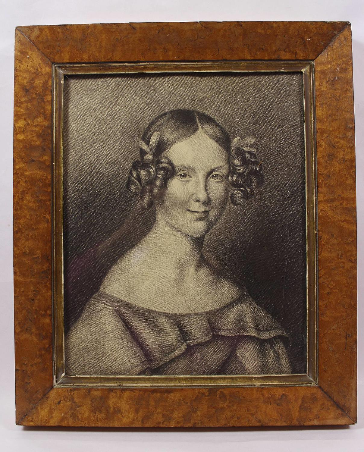 Early Victorian Charcoal Portrait of a Young Girl