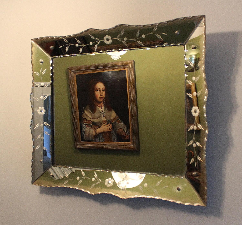 Venetian Style Foliate Engraved Wall Mirror