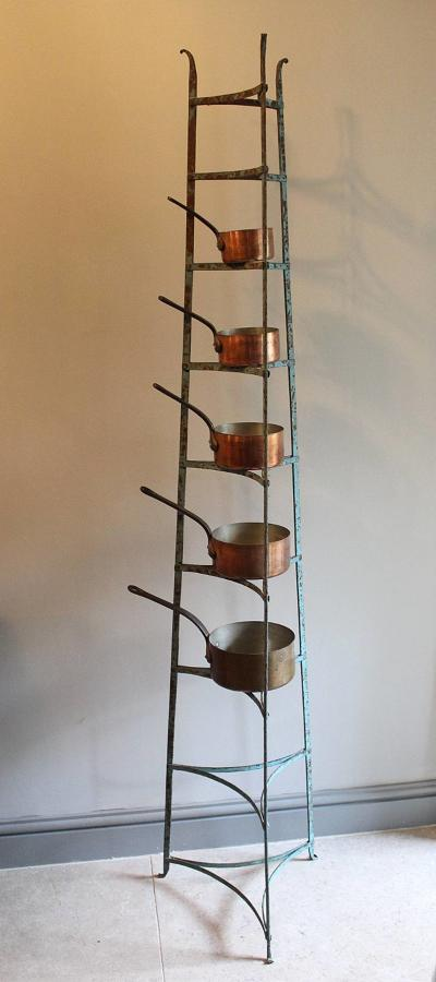 Victorian Wrought Iron Pan Stand in Original Paint