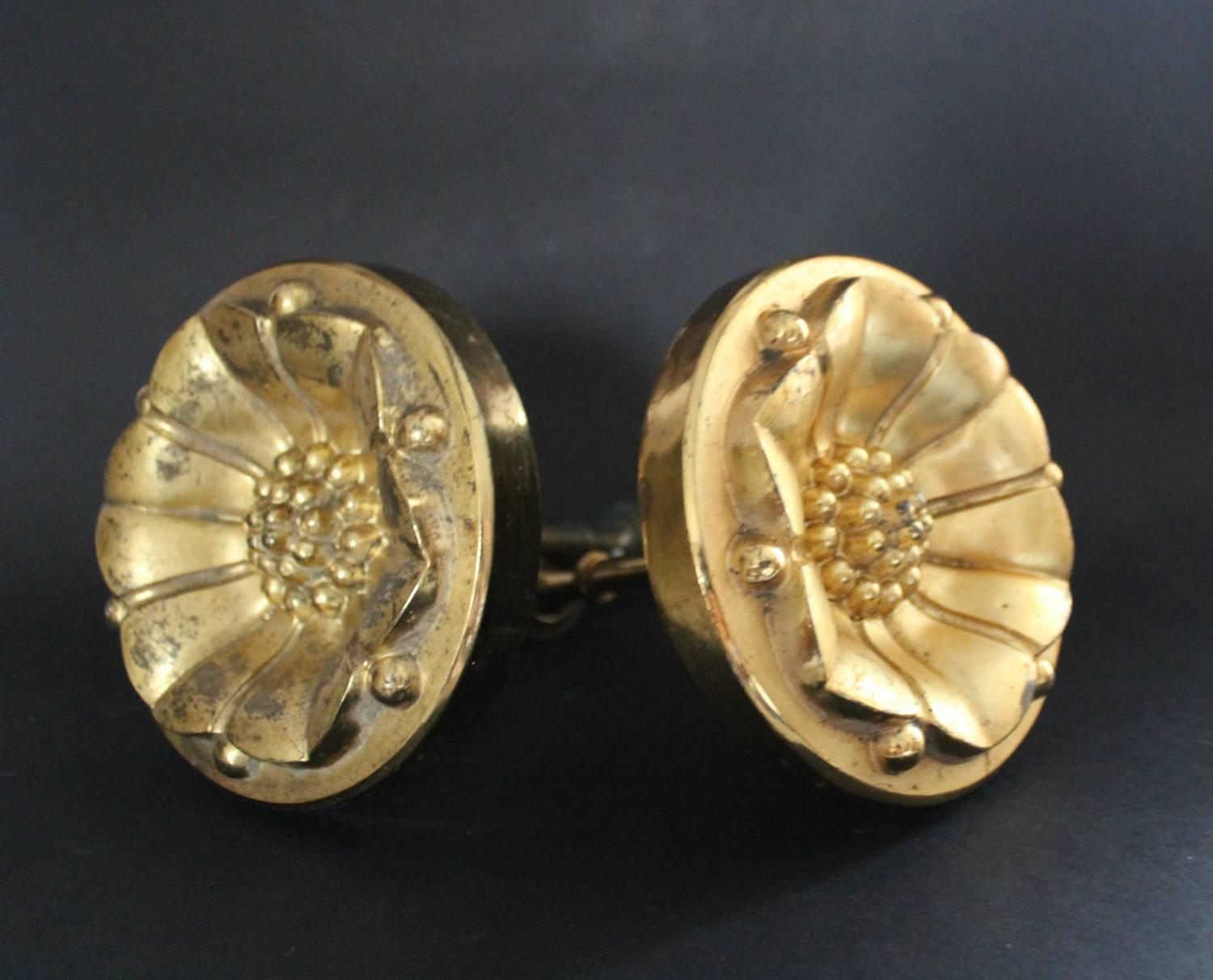 Large Pair of Antique French Gilt Curtain Tiebacks