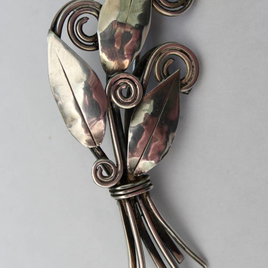 Mid Century Scandinavian Style Silver Brooch