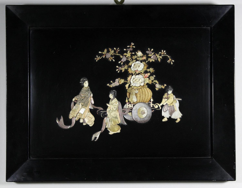 Japanese Shibayama Inlaid Lacquer Panel