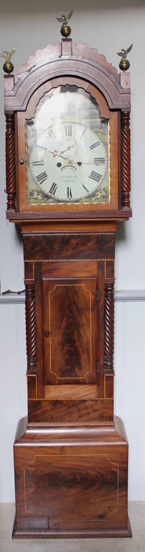 Georgian Mahogany Longcase Clock by J.O. Ingram, Cardiff