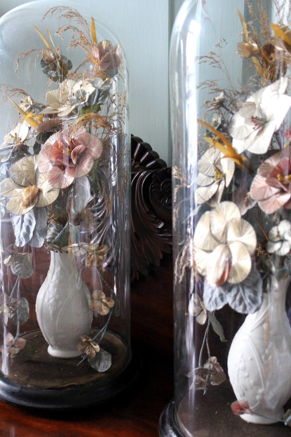 Pair of Victorian Glass Flower Domes
