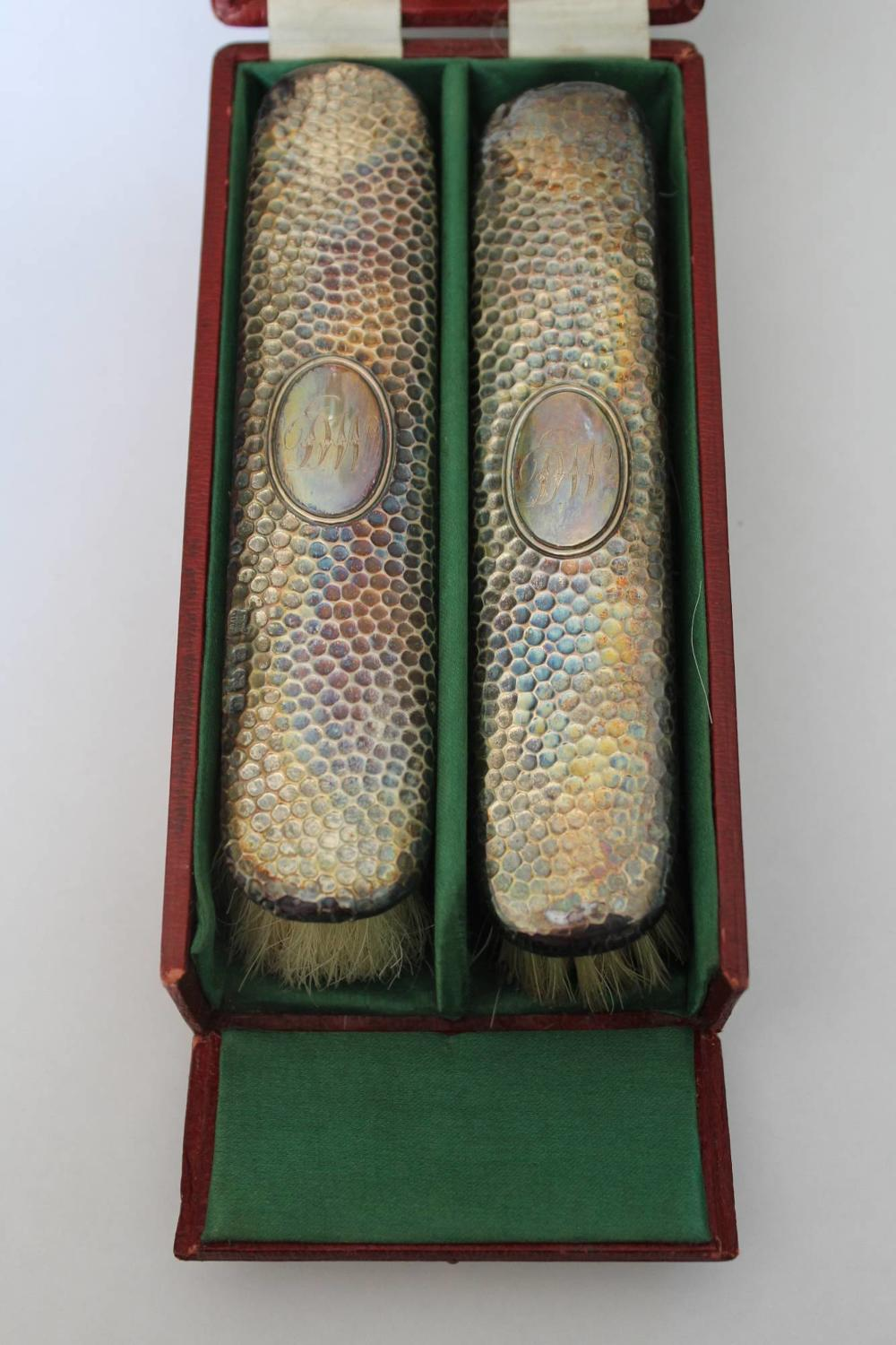 Pair of Cased Silver Brushes