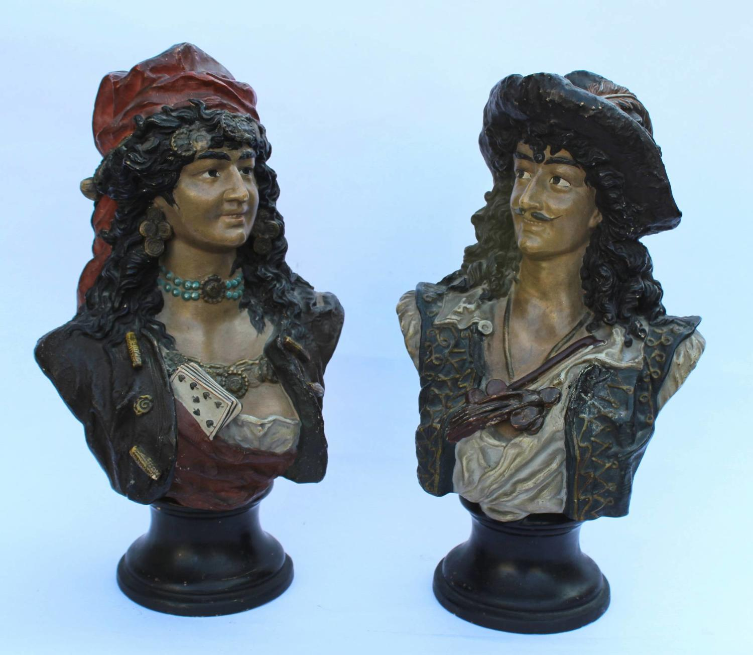 Pair of Austrian Cold Painted Terracotta Busts