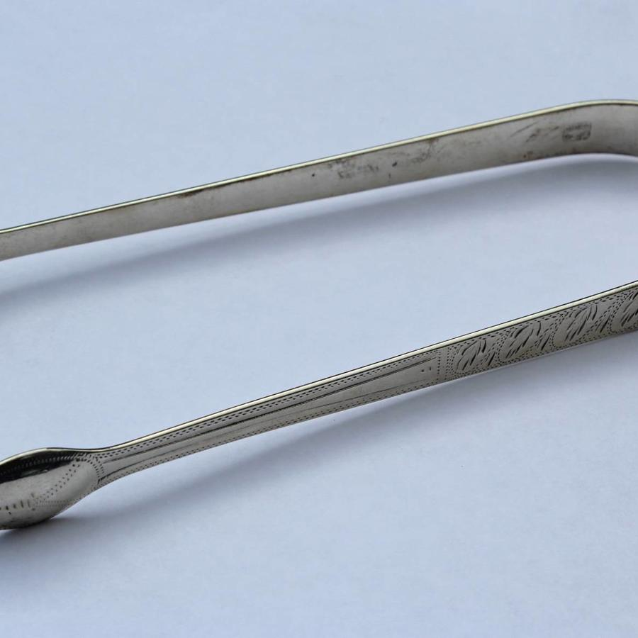 Georgian Brightcut Silver Sugar Tongs