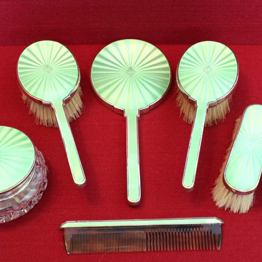 Art Deco Silver & Enamel Dressing Table Set