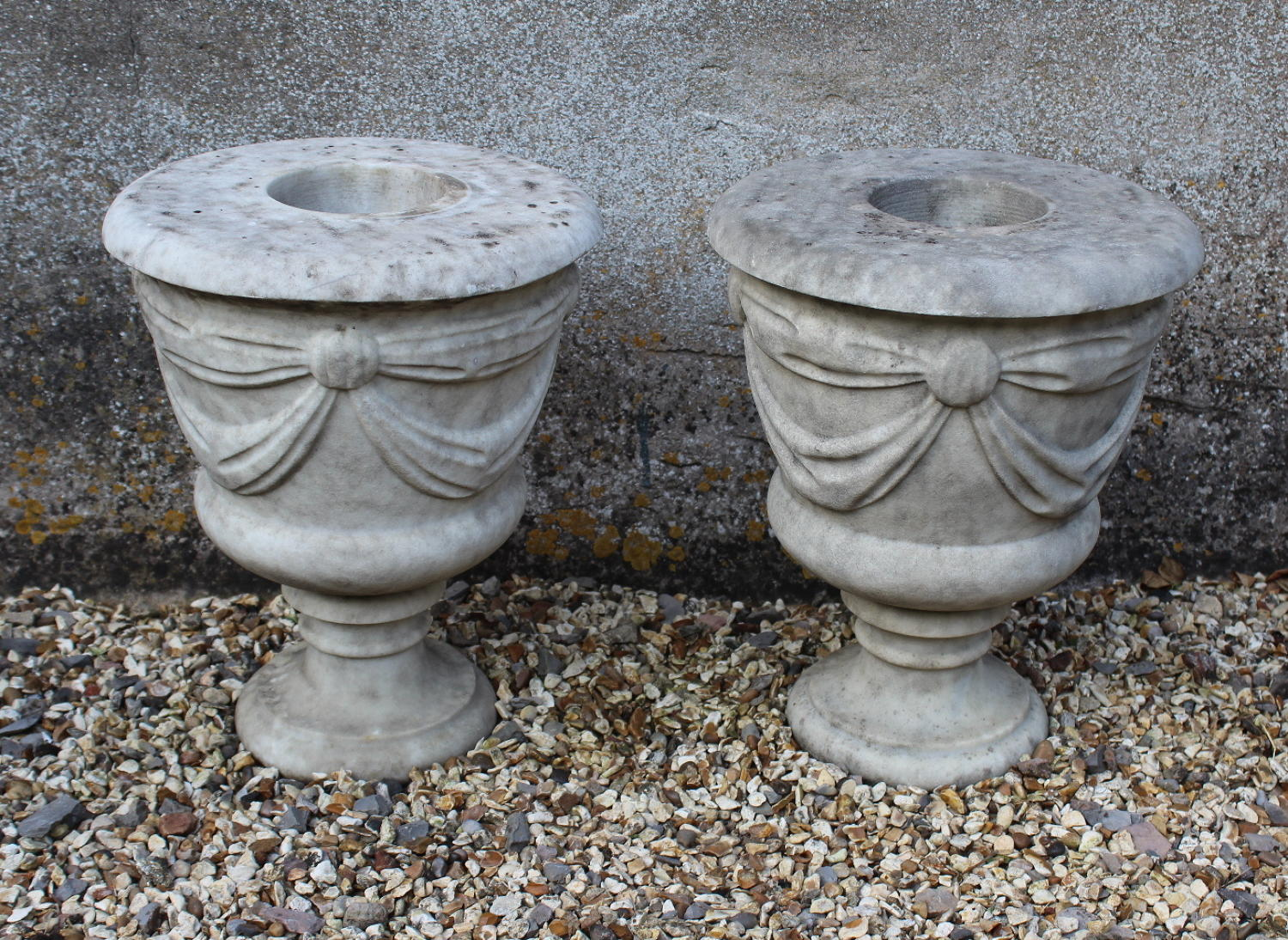 Pair of Swag Carved Marble Garden  Urns