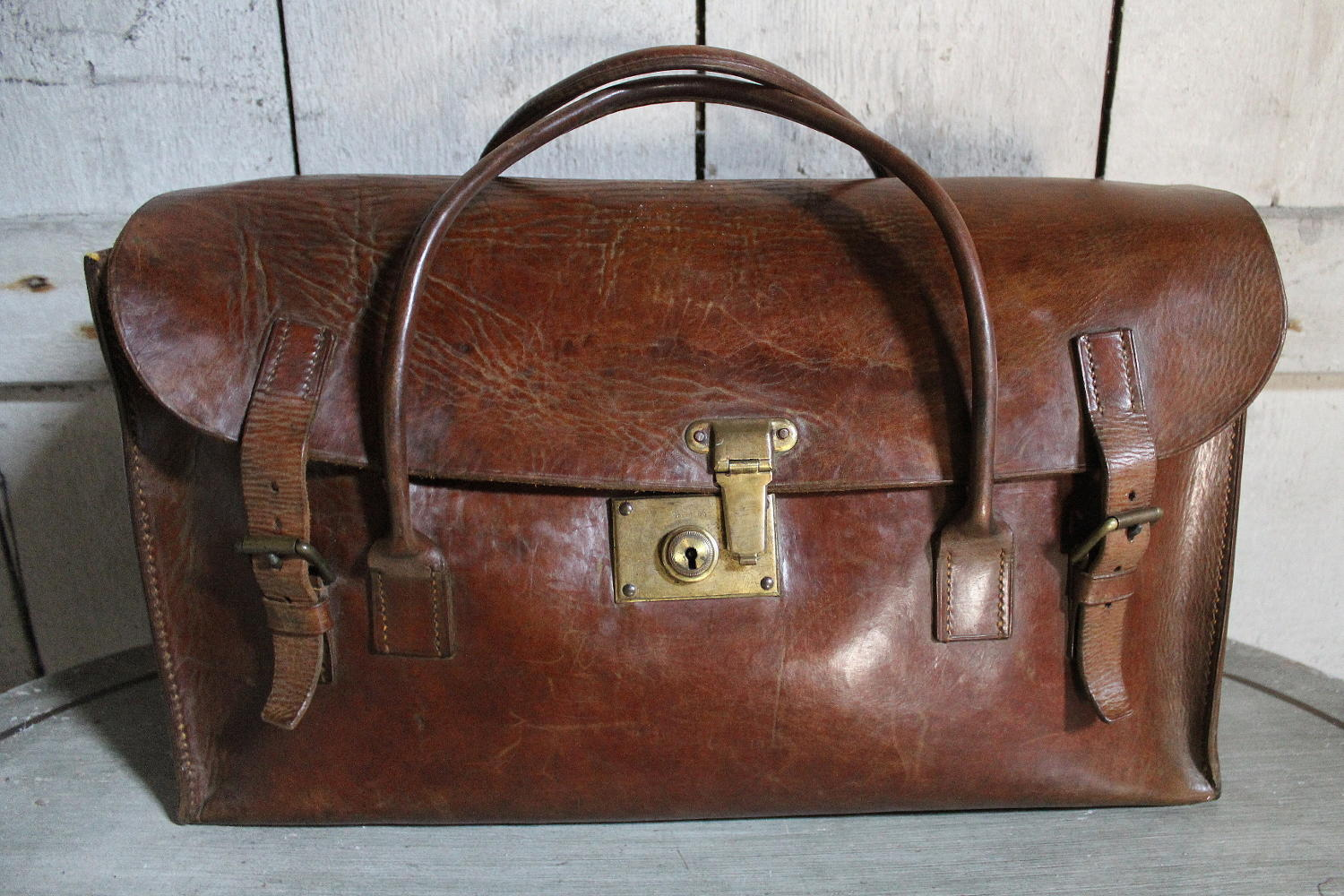 1930's Leather Weekend Bag