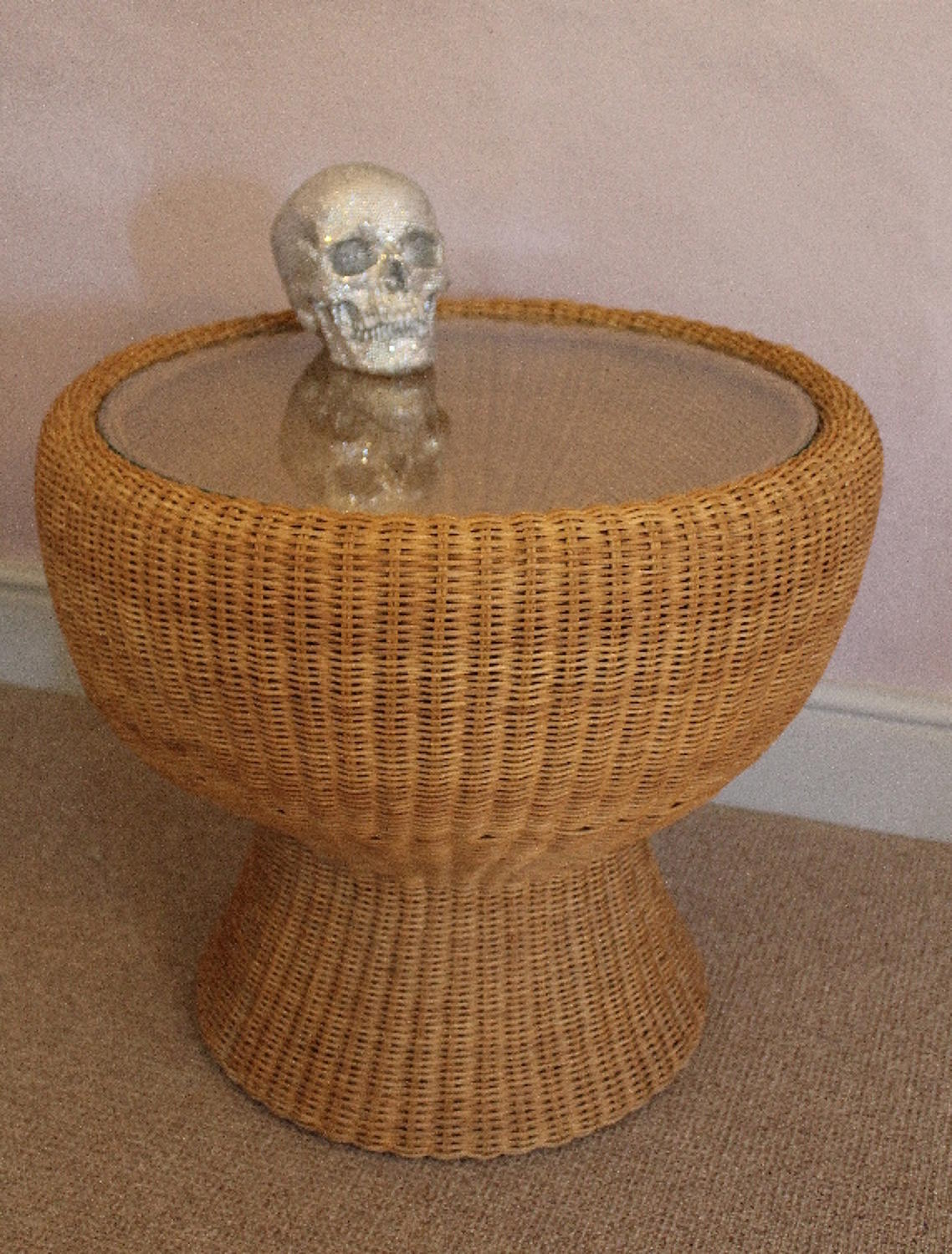 1960s Wicker Drum Table