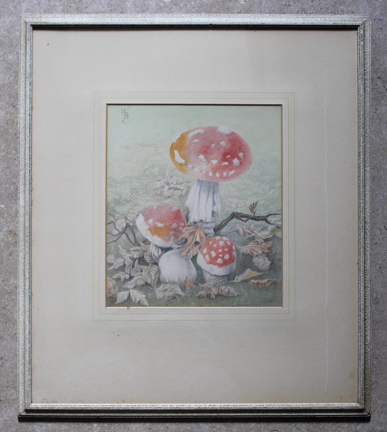 Dorothy Burroughes Watercolour of Toadstools