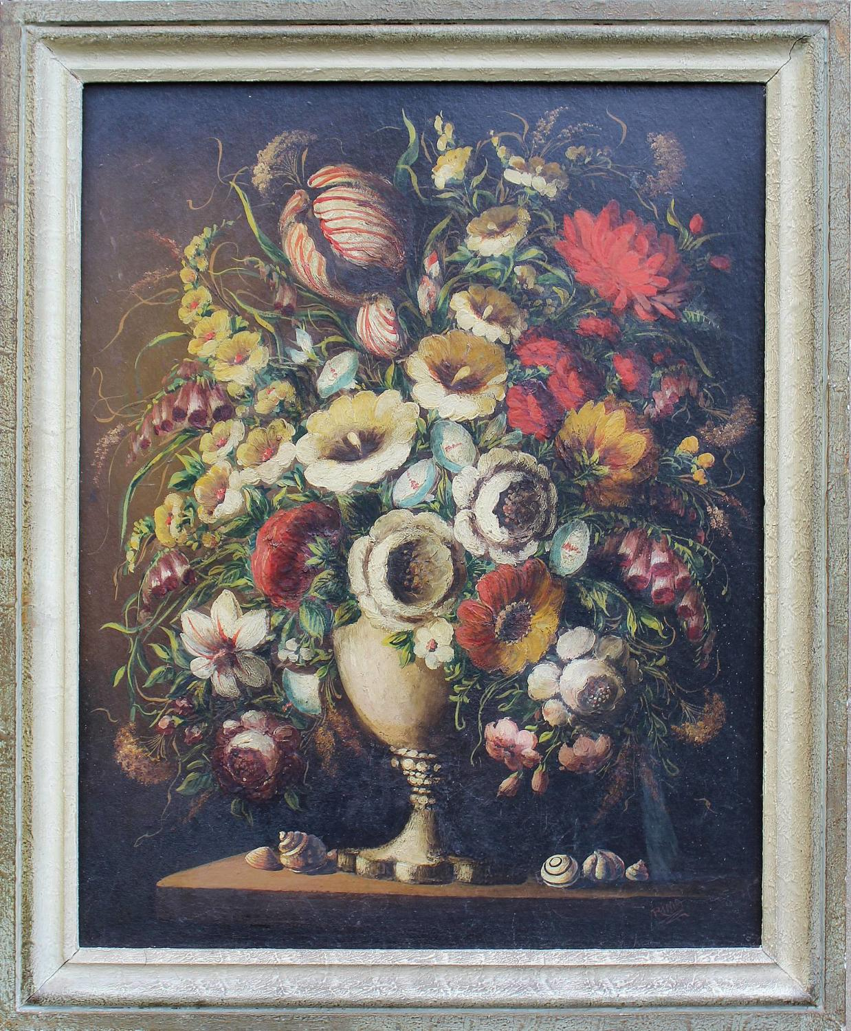 Still Life of a Vase of Flowers in 17th C Style, Oil on Board