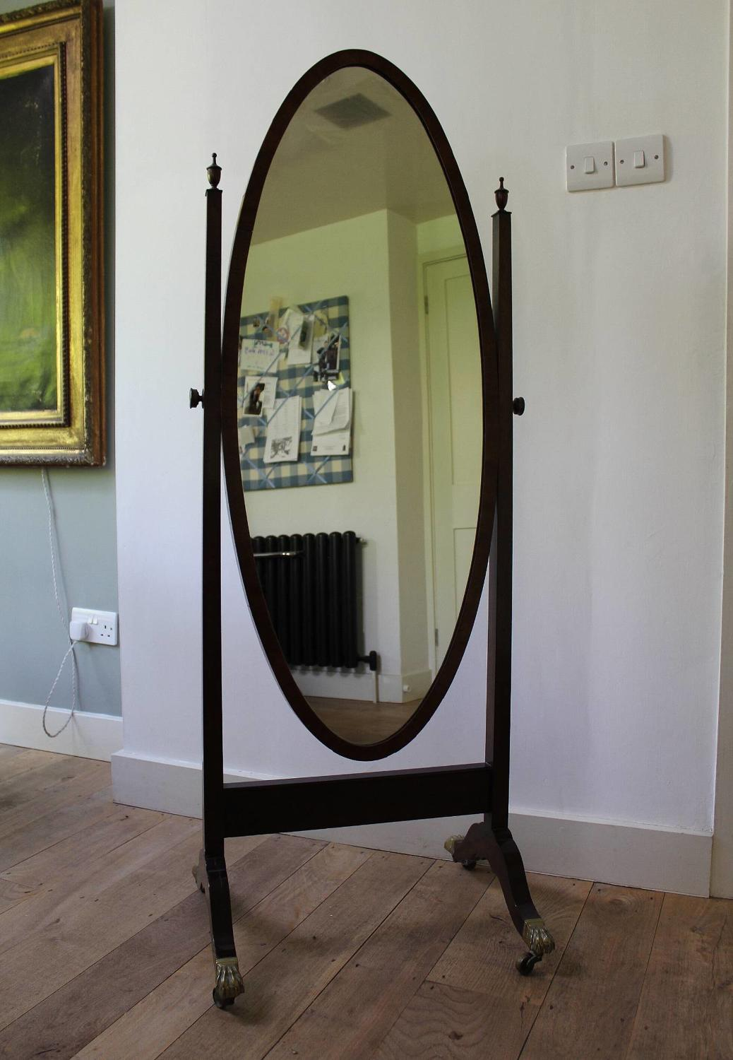Edwardian Mahogany Cheval Dressing Mirror in Georgian Style