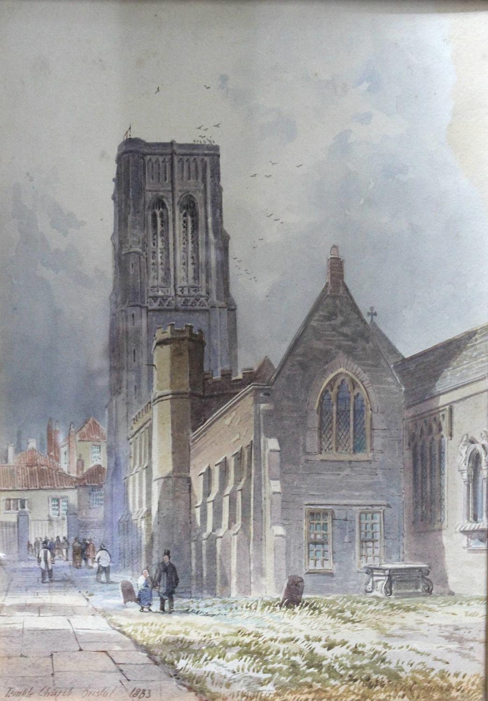 Alfred Edward Parkman Watercolour of Temple Church, Bristol
